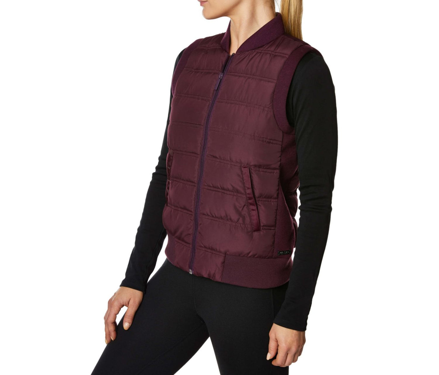 HYBRID RIB TRIM QUILT VEST WINE - APPAREL - Betsey Johnson