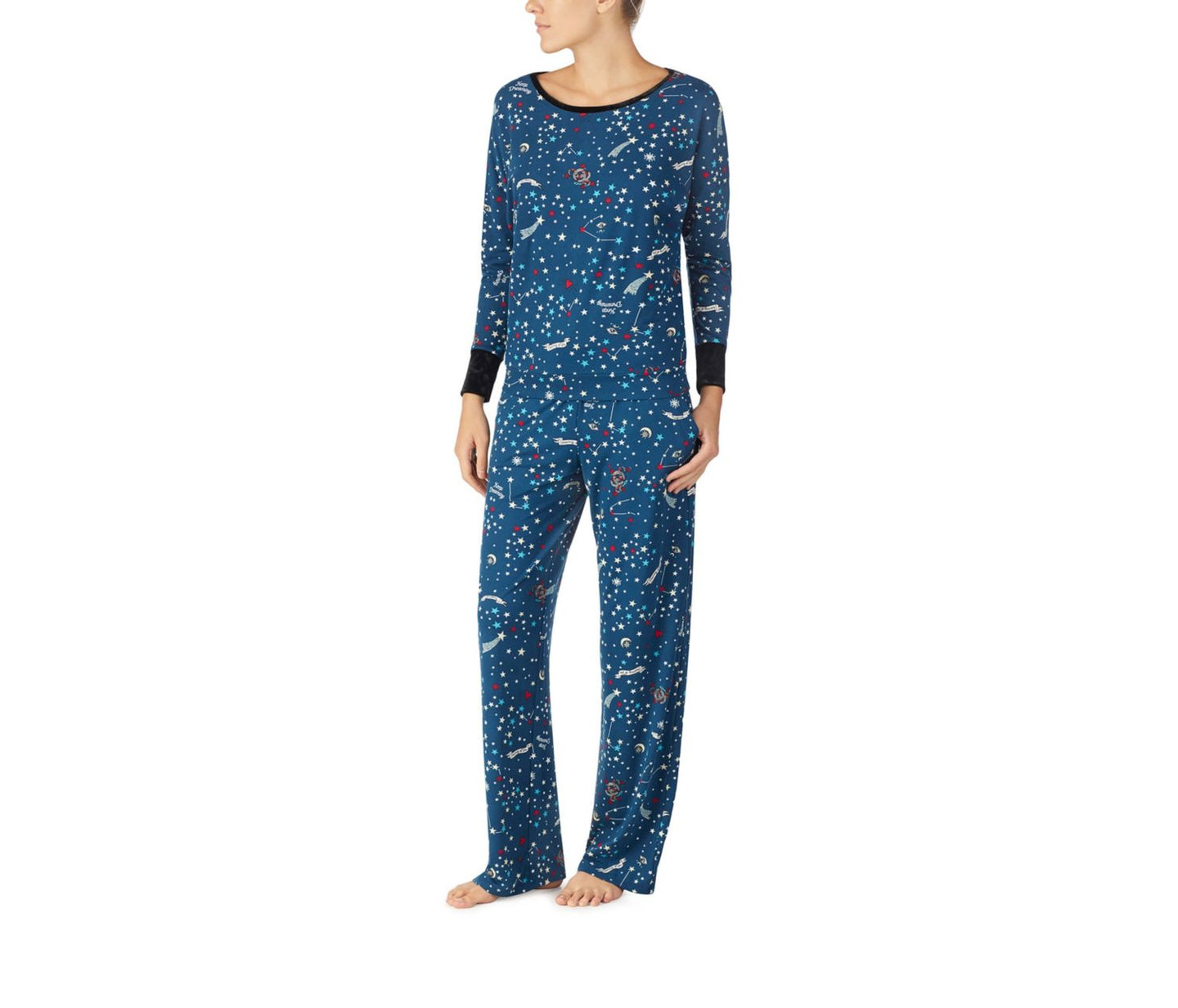 KEEP DREAMING COZY PJ SET NAVY - APPAREL - Betsey Johnson