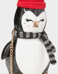 KITSCH COZY PENGUIN CROSSBODY BLACK-WHITE