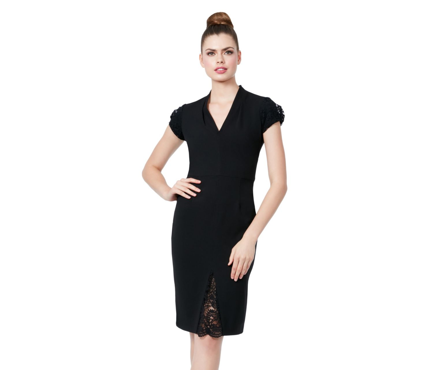 Lace Cap Sleeve Detail Midi Dress Black Betsey Johnson