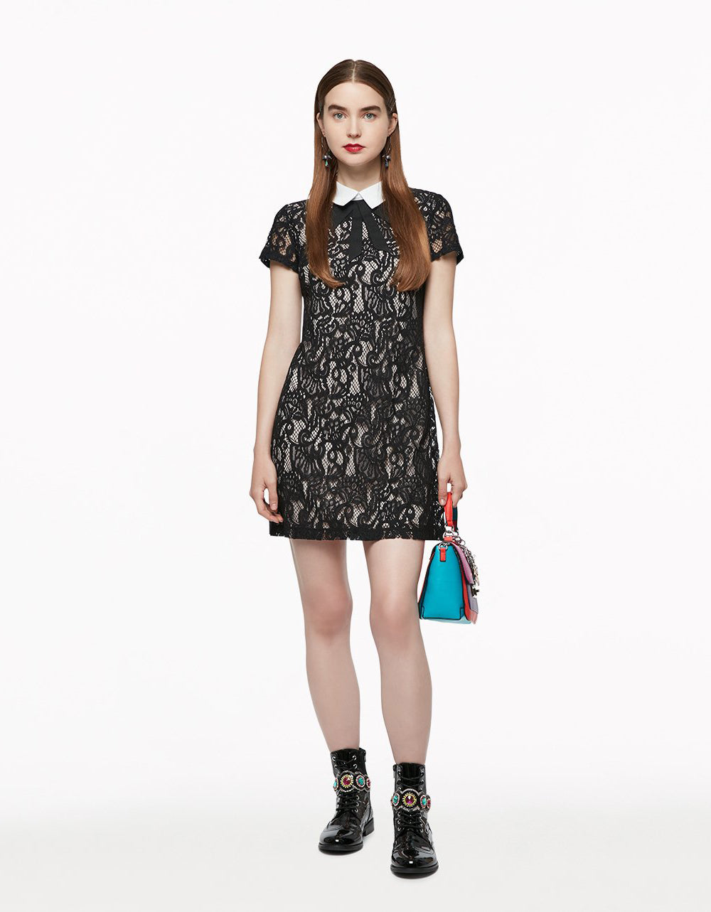 Lots Of Lace Tie Dress Black Betsey Johnson