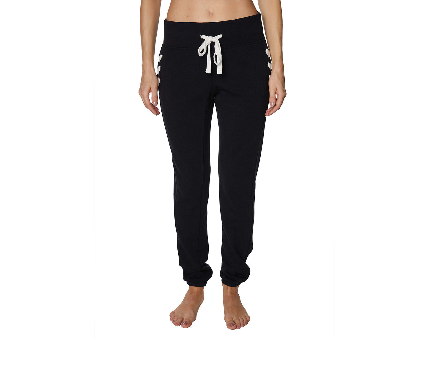 LACED UP JOGGER PANTS BLACK - APPAREL - Betsey Johnson