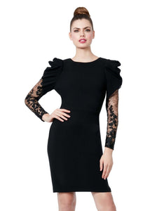 LADY LACE SLEEVE DRESS BLACK