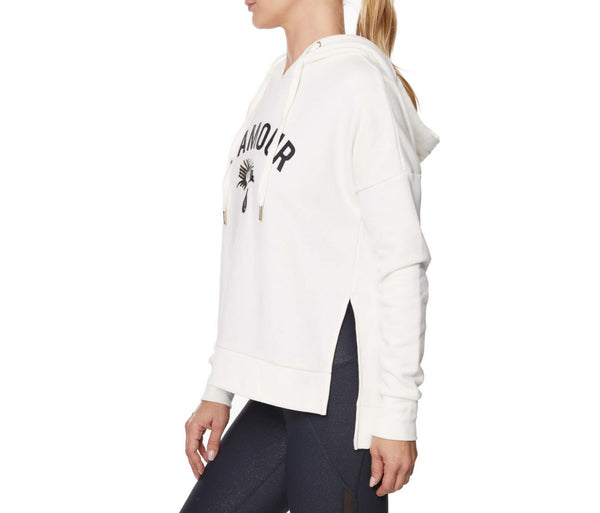 LAMOUR DROP SHOULDER HOODIE IVORY - APPAREL - Betsey Johnson