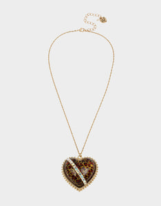LEAPING LEOPARDS HEART PENDANT LEOPARD