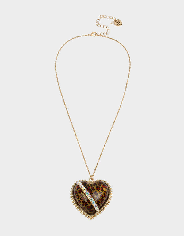 LEAPING LEOPARDS HEART PENDANT LEOPARD - JEWELRY - Betsey Johnson