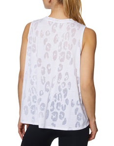 LEOPARD BURNOUT TANK WHITE