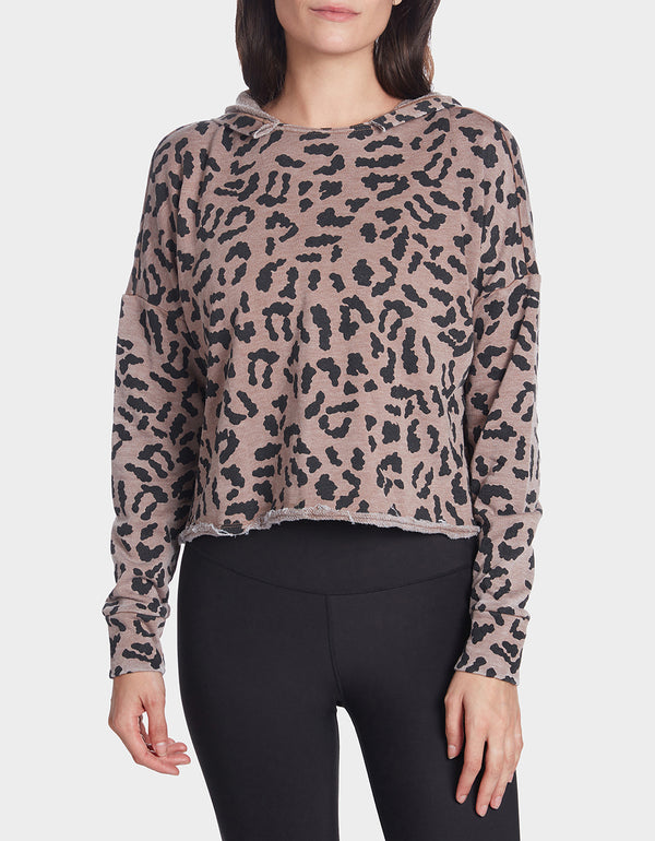 LEOPARD CUTOFF HOODIE MULTI - APPAREL - Betsey Johnson