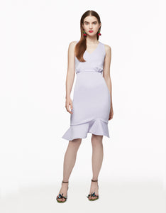 DOUBLE V RUFFLE DRESS LILAC