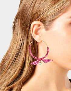 LILY FLOWER WRAPPED HOOPS PINK