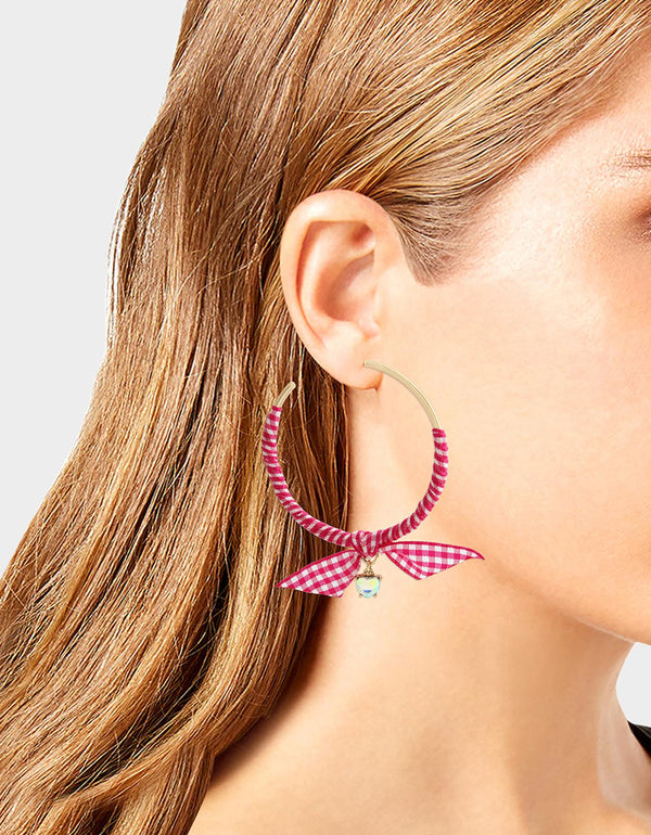 LILY FLOWER WRAPPED HOOPS PINK - JEWELRY - Betsey Johnson