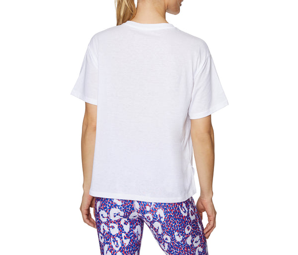 LIPS AND LEOPARD TEE WHITE - APPAREL - Betsey Johnson