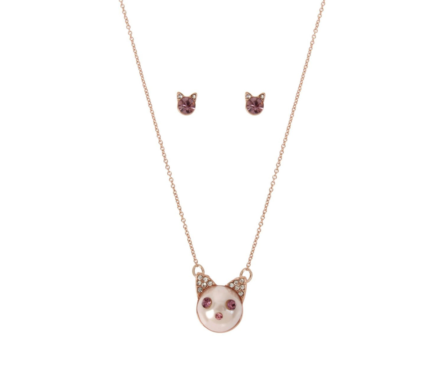 LITTLE ANGELS PINK CAT SET PINK - JEWELRY - Betsey Johnson