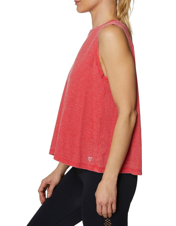LOGO BAND MUSCLE SWING TANK RED - APPAREL - Betsey Johnson