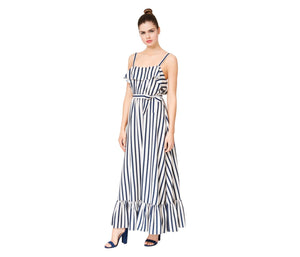 LONG LINES RUFFLED MAXI SUNDRESS BLACK-WHITE