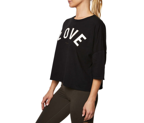 LOVE DISTRESSED BOXY TEE BLACK - APPAREL - Betsey Johnson