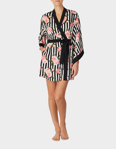 LOVE SPELL WASHED SATIN ROBE BLACK-WHITE