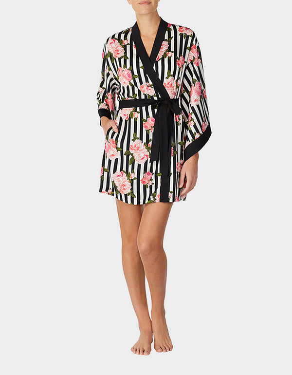 LOVE SPELL WASHED SATIN ROBE BLACK-WHITE - APPAREL - Betsey Johnson