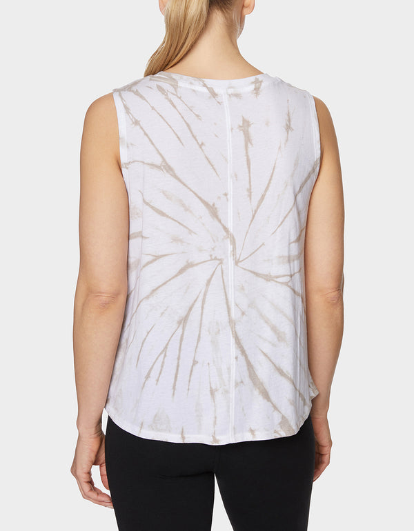 LOVE TIE DYE BOXY TANK BEIGE - APPAREL - Betsey Johnson