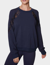 LOVELY LACE INSET SWEATSHIRT NAVY - APPAREL - Betsey Johnson