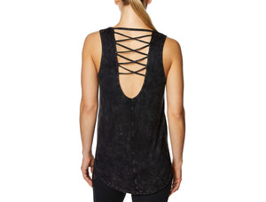 LOW BACK TANK WITH CRISS CROSS STRAPS BLACK