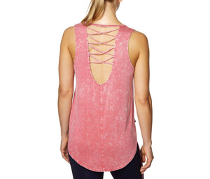LOW BACK TANK WITH CRISS CROSS STRAPS CORAL