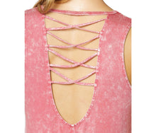 LOW BACK TANK WITH CRISS CROSS STRAPS CORAL - APPAREL - Betsey Johnson
