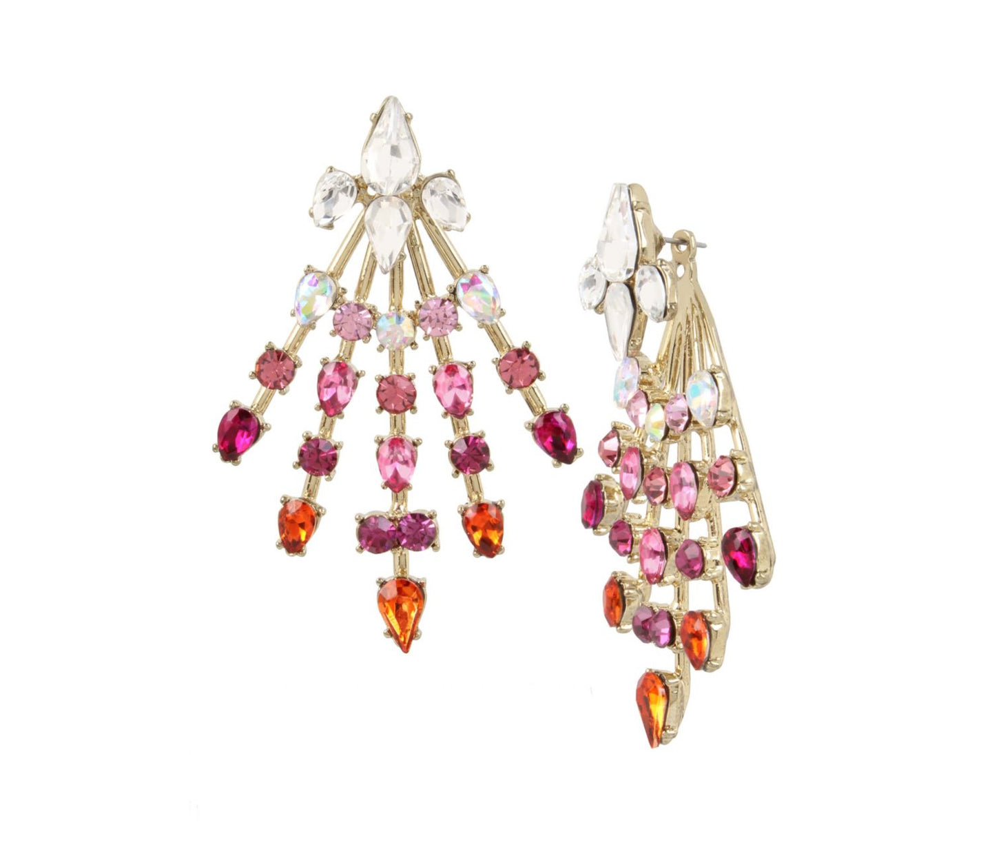 MAGICAL SHOW SPRAY FRONT BACK EARRINGS PINK - JEWELRY - Betsey Johnson