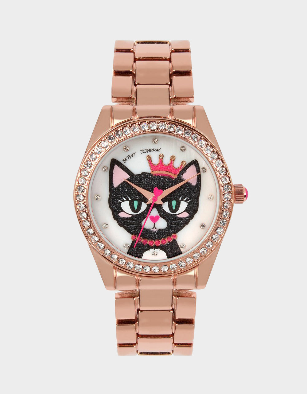 MEOWING ABOUT IT LINK WATCH ROSE GOLD - JEWELRY - Betsey Johnson