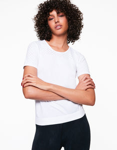MESH BLOCKED SEAMLESS TEE WHITE