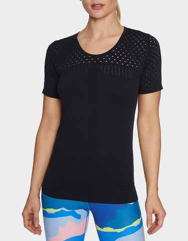 MESH BLOCKED SEAMLESS TEE BLACK