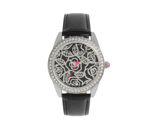 METALWORK ROSES WATCH BLACK