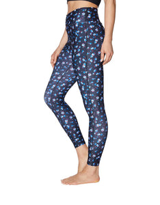 MITERED WAIST FLORAL LEGGING BLUE MULTI