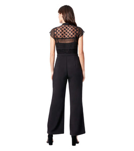 MIXED LACE JUMPSUIT BLACK
