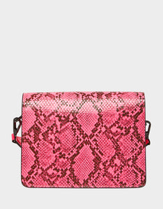 MIXED MEDIA FLAP CROSSBODY PINK NEON