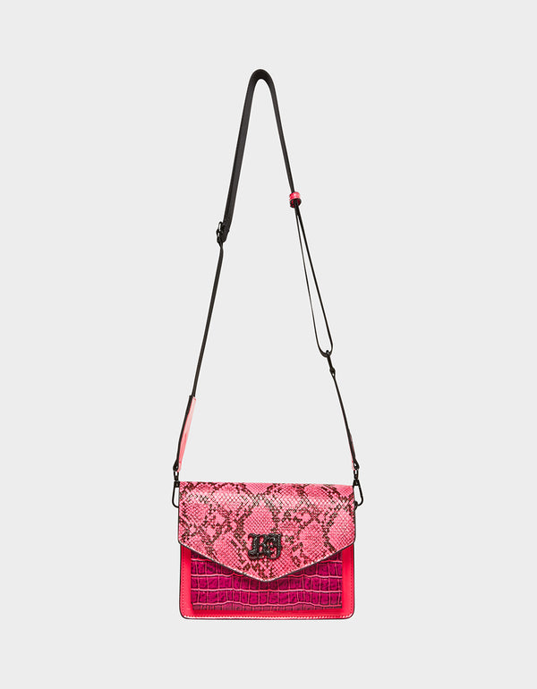 MIXED MEDIA FLAP CROSSBODY PINK NEON - HANDBAGS - Betsey Johnson