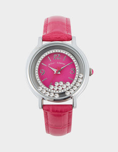 MOVING CRYSTALS WATCH PINK
