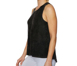 OPEN BACK BLEACH WASHED TANK BLACK