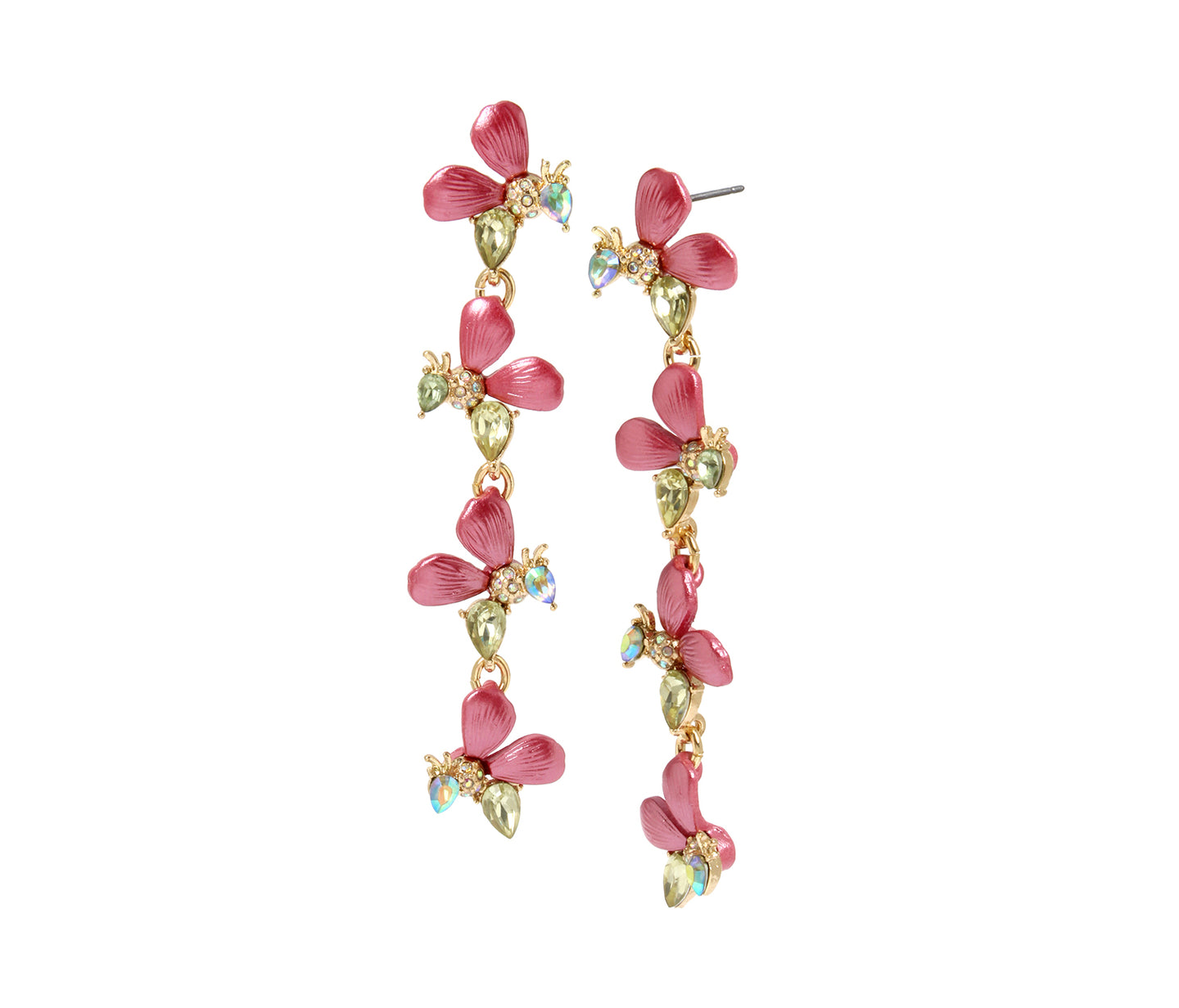 OPULENT FLORAL BEE LINEAR EARRINGS PINK - JEWELRY - Betsey Johnson