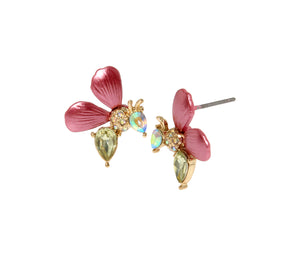 OPULENT FLORAL BEE STUD EARRINGS PINK