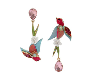 OPULENT FLORAL BIRD EARRINGS MULTI