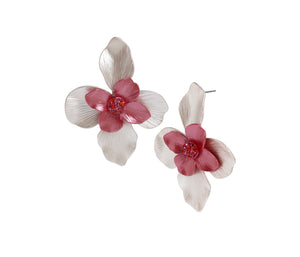OPULENT FLORAL FLOWER DROP EARRINGS PINK