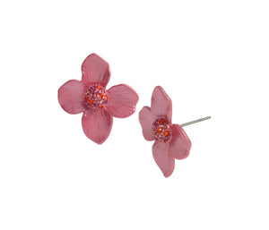 OPULENT FLORAL FLOWER STUD EARRINGS PINK