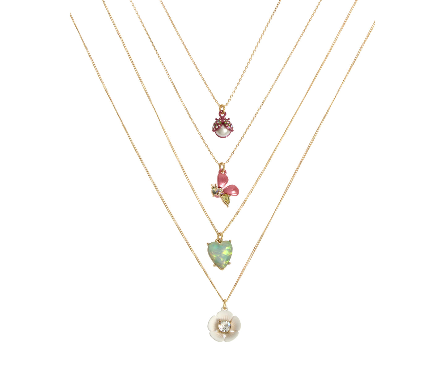 OPULENT FLORAL FOUR NECKLACE SET MULTI - JEWELRY - Betsey Johnson