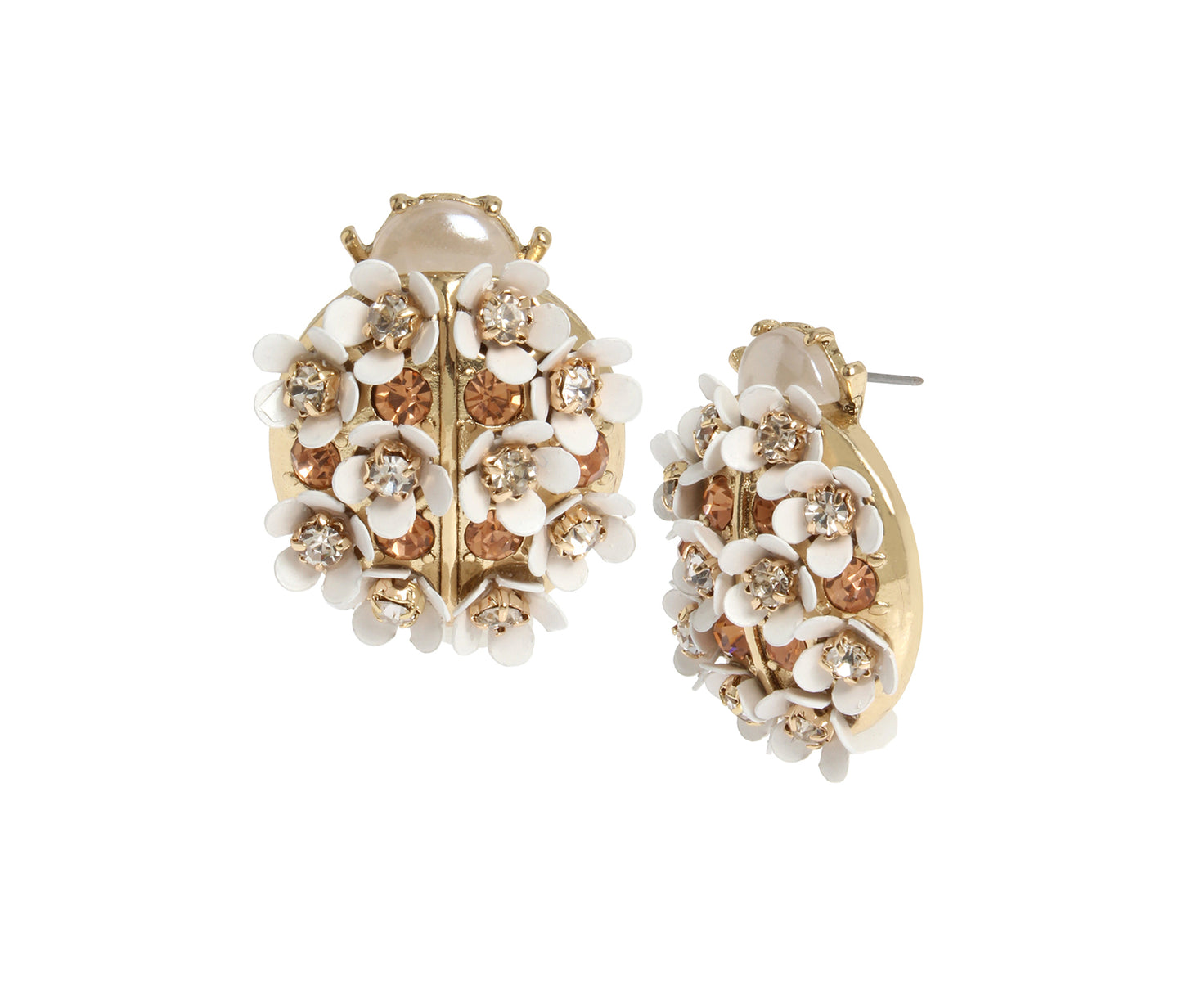 OPULENT FLORAL LADYBUG EARRINGS WHITE - JEWELRY - Betsey Johnson