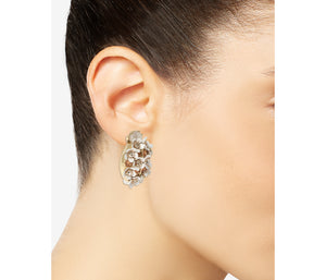 OPULENT FLORAL LADYBUG EARRINGS WHITE
