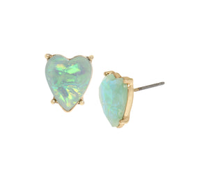 OPULENT FLORAL SMALL HEART STUDS MULTI