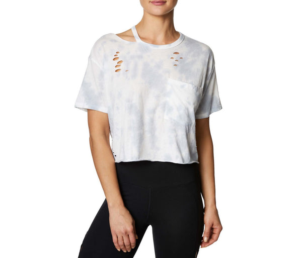 OVERSIZED DISTRESSED CROP TEE WHITE-GREY - APPAREL - Betsey Johnson