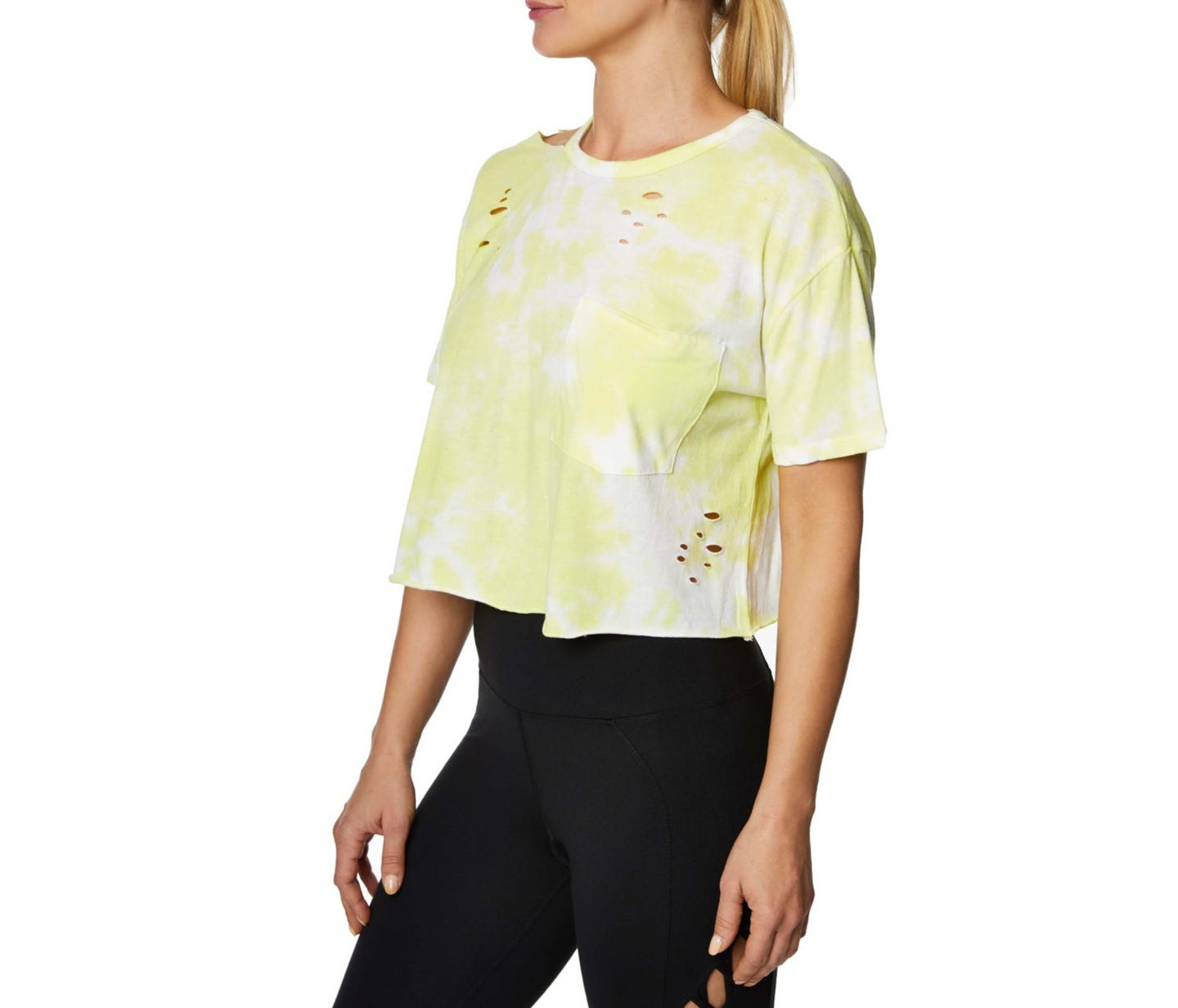 OVERSIZED DISTRESSED CROP TEE WHITE-YELLOW - APPAREL - Betsey Johnson