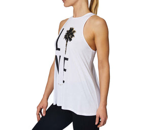 PALM TREE LOVE RACERFRONT SWING TANK WHITE